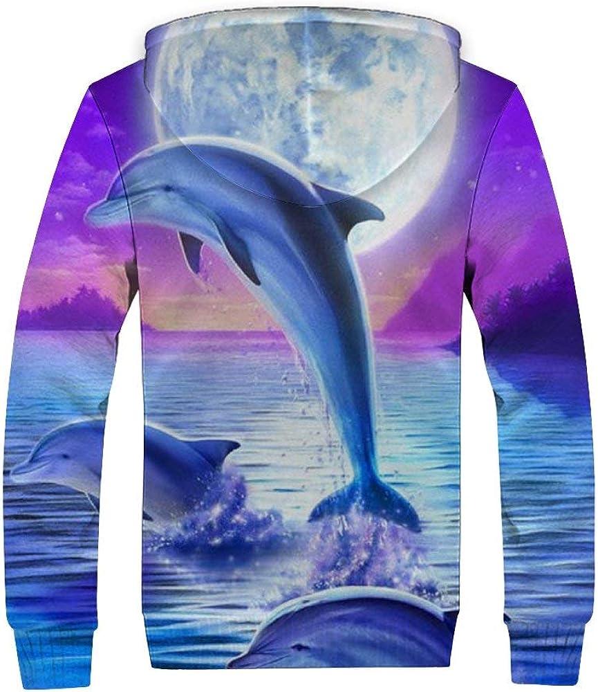 EVEYYWY 3D-HD-Druck Plus Samtpullover Plus Samt-Reißverschluss-Sweatshirt Delfin-Erwachsenenpulloverzum Shoppen geeignet, warmen Pullover mitbringen No.2