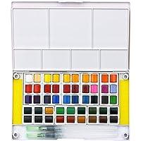 Sulida Set de pintura profesional de acuarela - 48 colores, kit de viaje portátil de color de agua Incluye 2 pinceles de agua - 2 esponjas y paleta de mezcla, perfecto para los aficionados a florecer, artistas