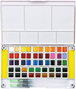 Conjunto Profissional de Aquarela, 48 cores, Portátil
