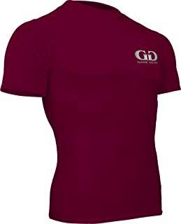 product image for HT-603S-CB Fitness Compression Fit, Short Sleeve Crew Neck Shirt-Track, Soccer, Football, Weight Training, Lacrosse-Sweat Transfer Technology (X-Large, Maroon)