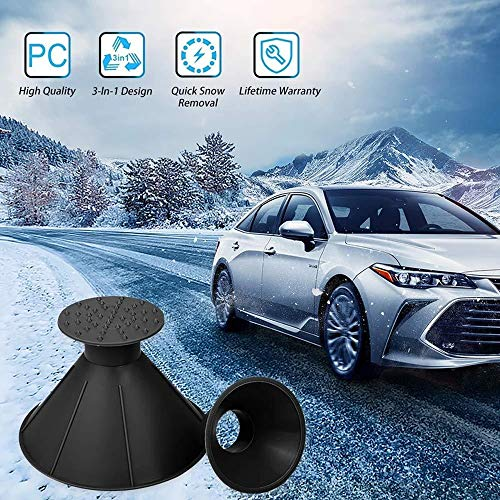 DIY home 2 Pack Magical Car Ice Scraper/Snow Removal Shovel Tool,Multi-Function Cone Shaped Car Windshield Snow Scraper, Efficient Funnel Cone for Car Bus Truck (Black)