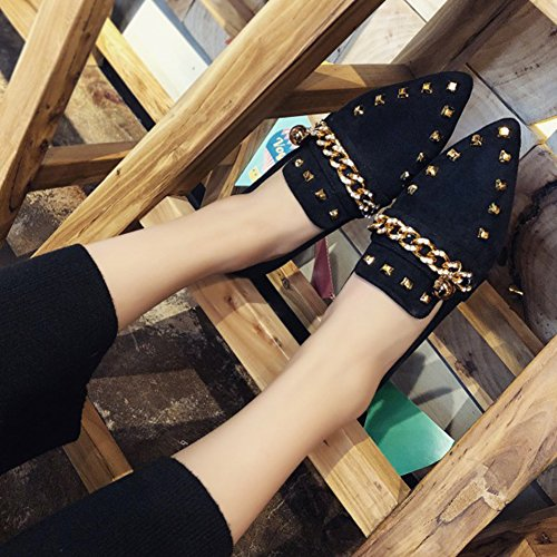 Btrada Womens Penny Loafers Shoes - Pointed Toe Rivet Metal/Embroidery Moccasin Slip-On Flat Dress Shoes Black1 mAoYKM
