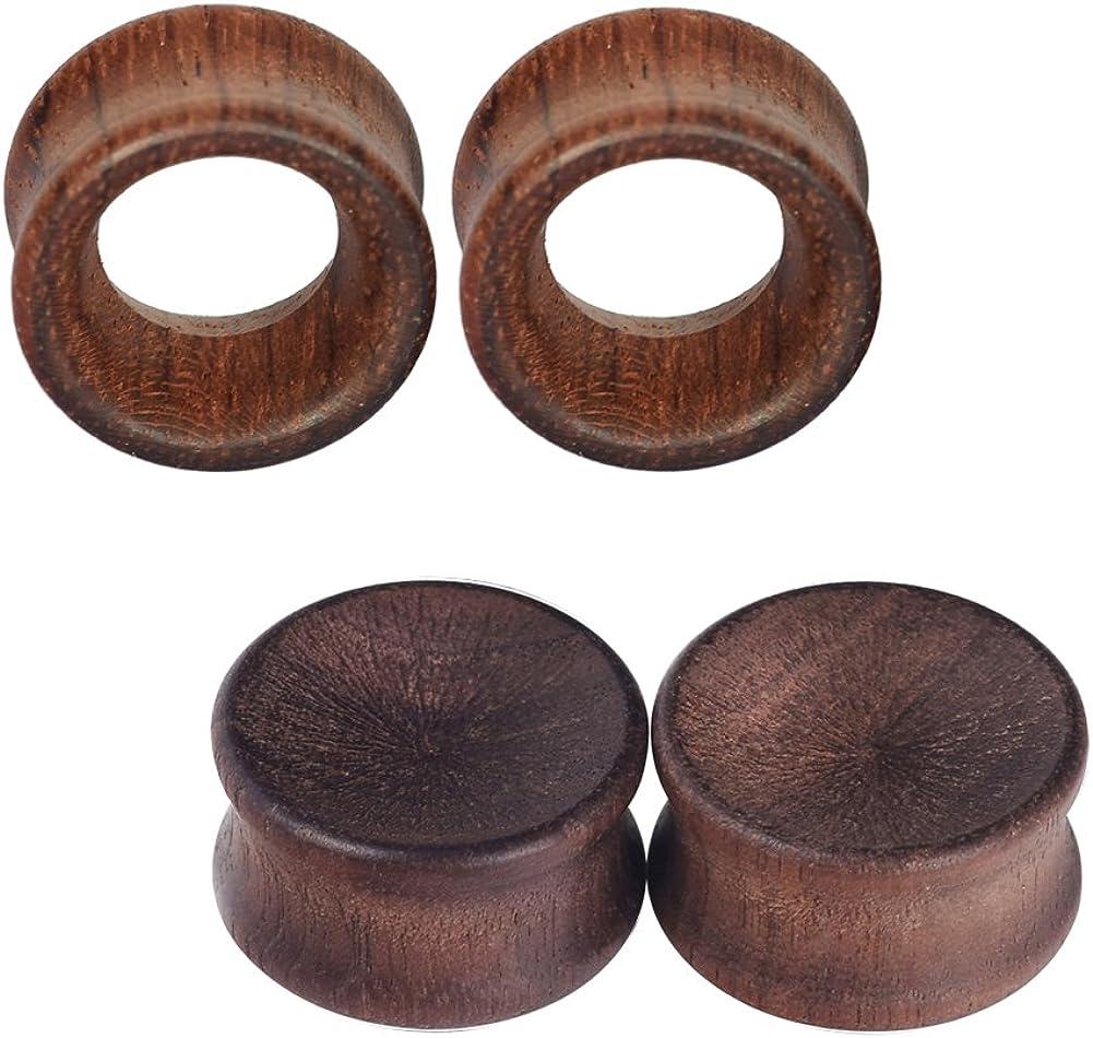IPINK-10pcs Ear Gauges Vintage Organic Hollow Wood Saddle Double Flared Ear Tunnels Plugs 0g-3//4