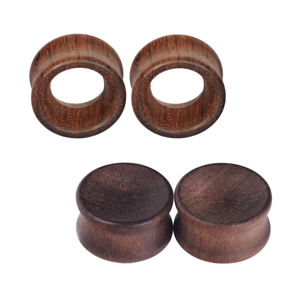 D& M Jewelry 2Pair Vintage Brown Natural Wood Double Flared Hollow+Saddle Tunnels Ear Plugs Stretcher Gauges Qianmin Co.Ltd XS135-18MM
