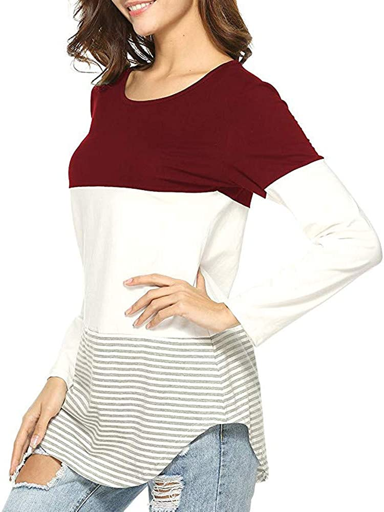 iCODOD Women Casual O-Neck Striped Patchwork Stretchy Long Sleeve Tops Blouse