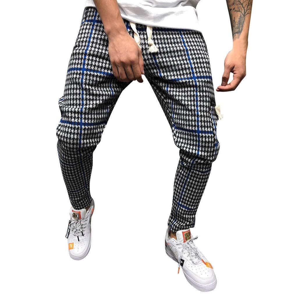 Mens Pants,2019 New Classic Drawstring Plaid Stripe Print Elastic Waist with Pocket (US:32, Blue) by Yihaojia Men Pants
