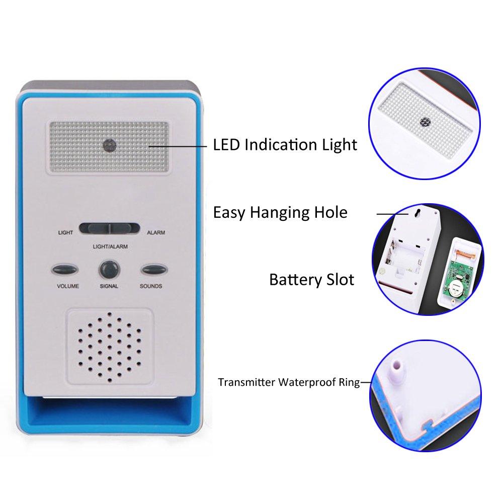 timbre alarma inal/ámbrica con alarma para el hogar bot/ón de emergencia dispensador de cuidados personal para ancianos FUNRUI Sistema de alarma para el paciente monitor de ancianos