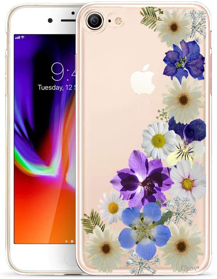 Unov Case for iPhone SE (2020) iPhone 8 iPhone 7 Clear with Design Embossed Floral Pattern TPU Soft Bumper Shock Absorption Slim Protective Back Cover 4.7 Inch (Flower Blossom)