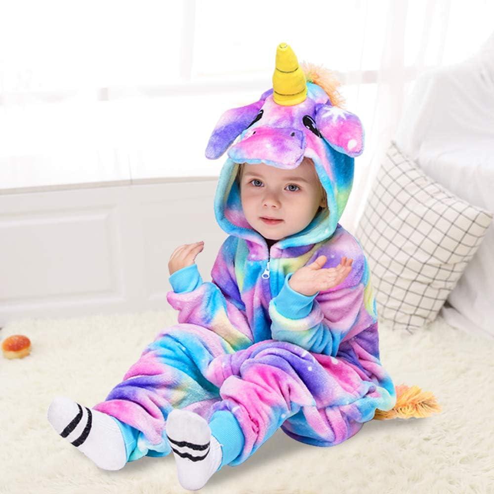 MMTX Bambini Tutina di Unicorno Pigiama Flanella Animale Costume Halloween Cosplay Pigiami da Notte Felpa con Cappuccio per 6-7 Anni Altezza 115-124 cm