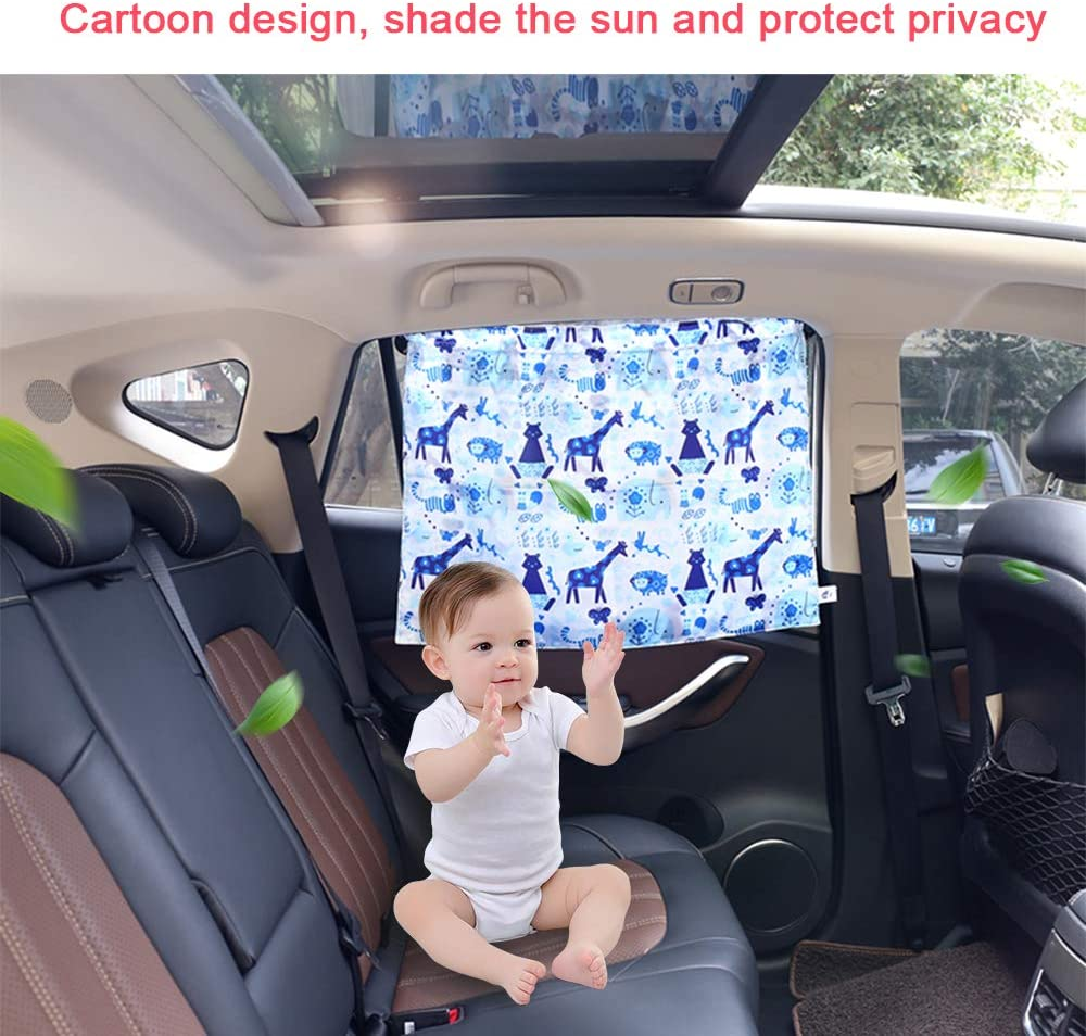 21 Inches Window Sunshades Includes Hanging Rope /& Sucker Block UV /& Heat for Kids Children achese Baby Adjustable Car Side Window Curtain 2 PCS Cartoon Giraffe 30