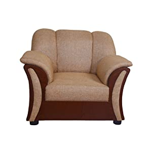 Look In Furniture Clara Wooden Single Seater Sofa with Cushion (Beige)