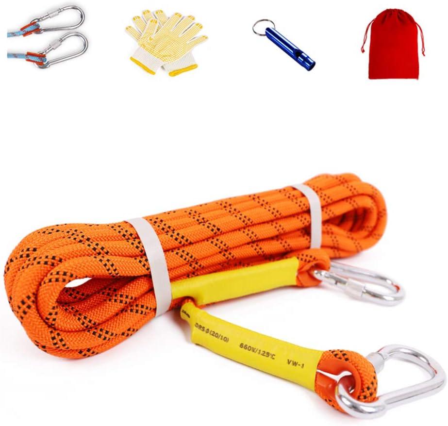 登山ロープ 多目的ロープ 12 mmアウトドア耐摩耗クライミングロープナイロンロープクライミングレスキューパワーロープ救命ロープ (オレンジ),60m  60m