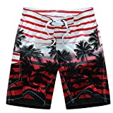 Gymleader Men's Printing Quick Dry colorful Stripe Coconut Tree Beach Shorts Swim Trunks-RD-M