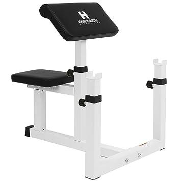 Banco scott regulable blanco Hardcastle para ejercicios de curl - Mejora el entrenamiento de los bíceps