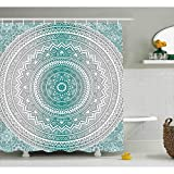 Oversized Shower Curtain Serra Home Waterproof Bath Curtain Gray Turquoise Circle Patterned Shower Curtain, Luxury Decorative Print Antibacterial Easy Care