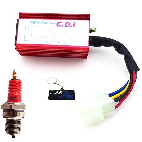 STONEDER 6 Pin AC CDI + D8TC Bujía Plug para CG 125 150 250 CC Pit