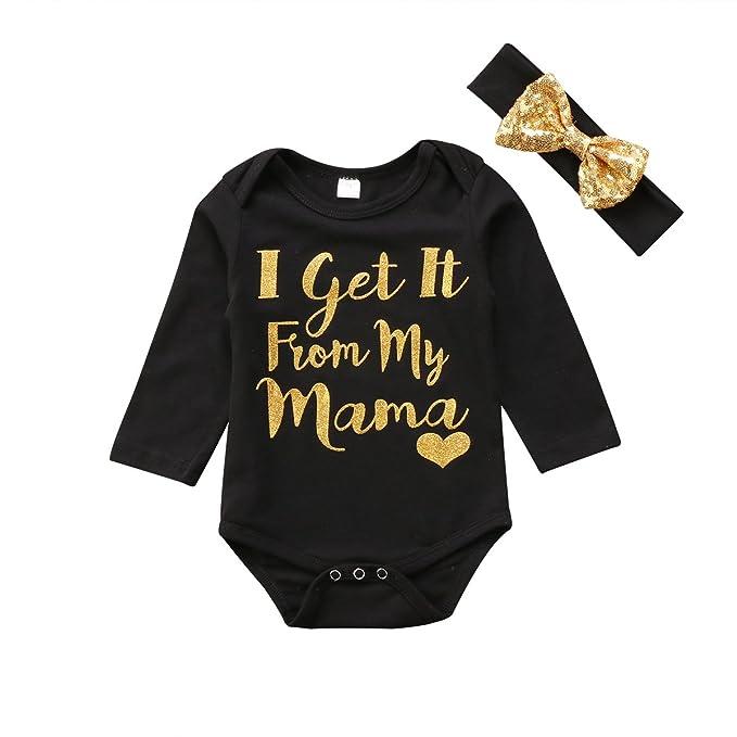 Amazon.com: 2 piezas, traje de bebé para niña, traje de pelo ...