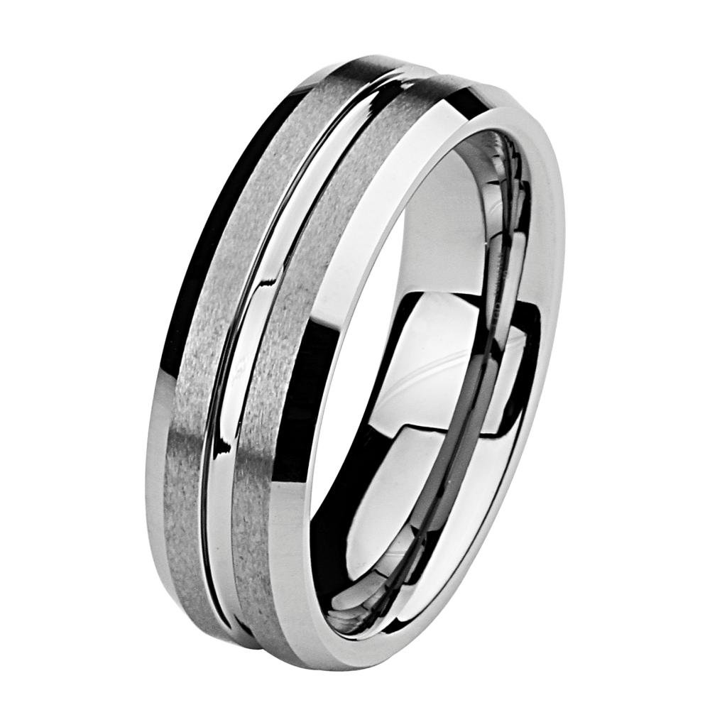 7MM Wellingsale LUXE Series Comfort Fit Wedding Band Ring with Grooved Center and Diamond Beveled Edges in Brushed and Polished Finish for Men and Women - Size 11.5