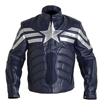 Mshc Men S Captain America Winter V2 Faux Leather Jacket Navy Blue