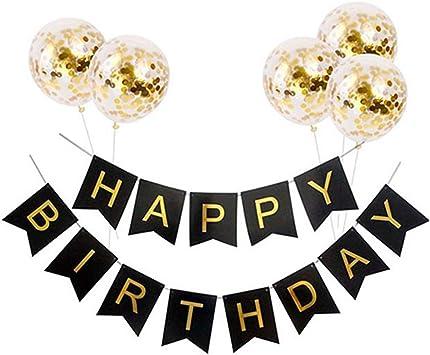 hemore cumpleaños pancarta con balón de oro Set confeti globos ...