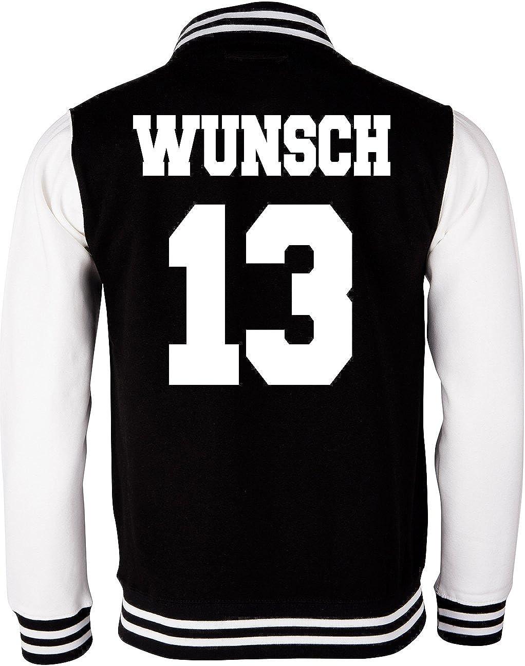 EZYshirt/® College Jacke Wunschname und Wunschnummer /& Partnerlook College Jacke Baseball Jacke