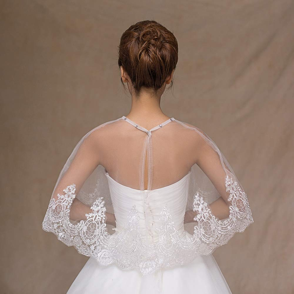 Maybesky Avvolgere la Sciarpa Coprispalle da Sposa con Scialle in Pizzo da Donna con Perline Decorazione per Giacche da Sposa Bolero per Matrimonio e Festa Festa di Matrimonio Colore : Bianca