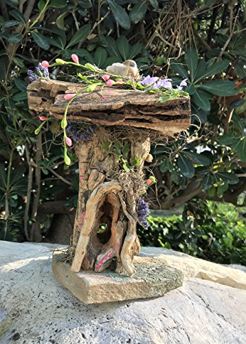 Pink Fairy House with Bird for Floral or Decorative Fairy Gardening by Sprouted Dreams