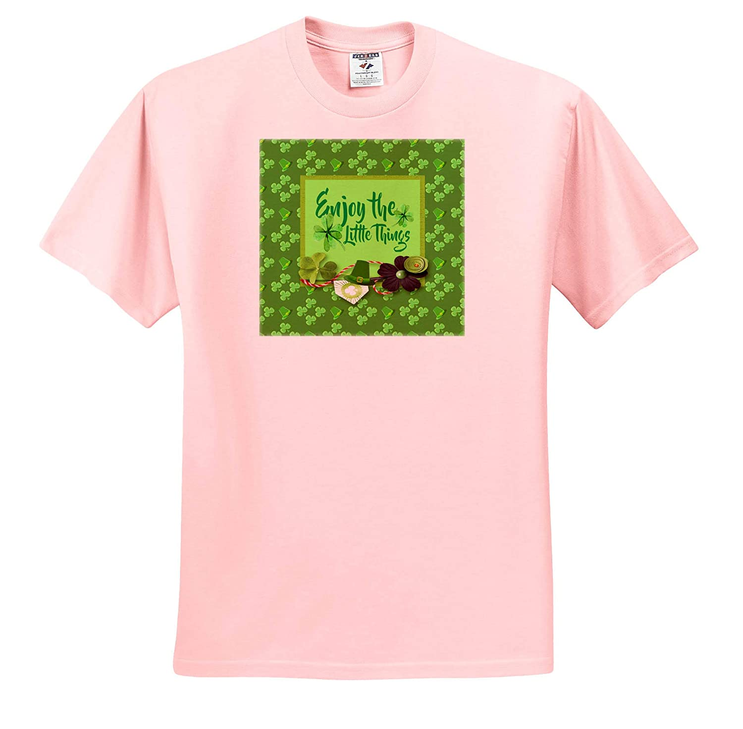 Shamrocks Flowers and Hats T-Shirts Green Enjoy The Little Things 3dRose Beverly Turner St Patrick Day Design