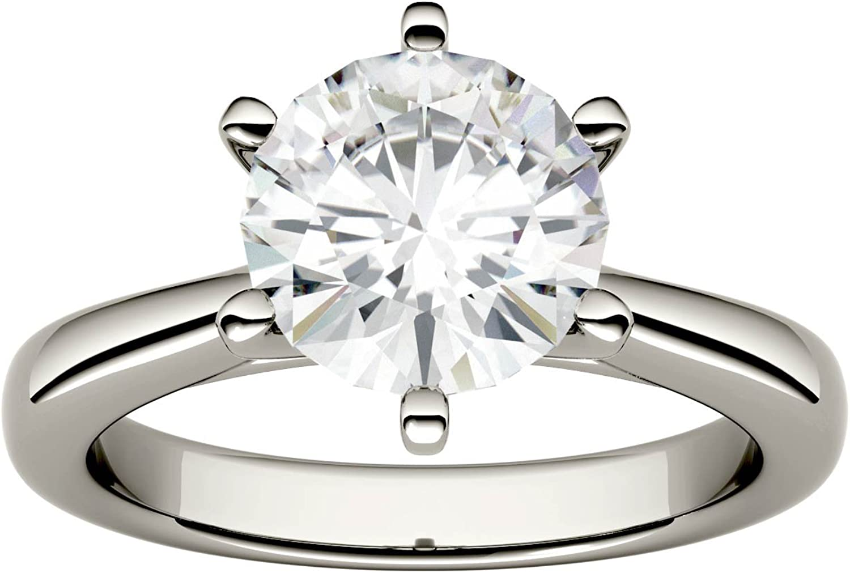 14K White Gold Forever One 6.5mm Round Moissanite Engagement Ring, 1.00ct DEW (D-E-F) by Charles & Colvard