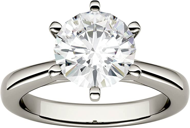 1.00 Ct Moissanite Solitaire Engagement Ring 14K White Gold Excellent Round Cut