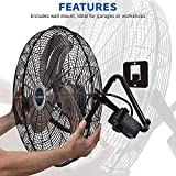 """Lasko 20"""" High Velocity QuickMount, Easily Converts from a Floor Wall Fan, 7 x 22 x 22 inches, Black 2264QM"""