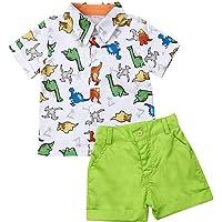 Ropa Niño Conjuntos Verano 2 Piezas Camisa Dinosaurio + Pantalón Corto para Chico de 1-6 Años para Casual, Fiesta…