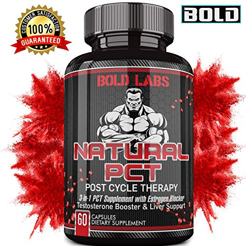 Natural Post Cycle Therapy by Bold Labs 1125 MG 3-in-1 PCT Supplement with Estrogen Blocker, Testosterone Booster and Liver Support - Fenugreek, Chrysin, Milk Thistle, Tongkat Ali and More - 60 Cap