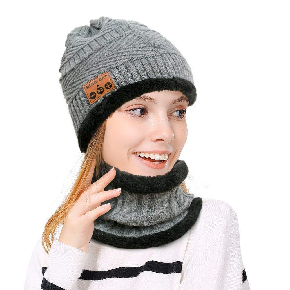 Bluetooth Beanie Music Hat Sciarpa Antivento e Snowproof Cuffie Copricapo musicale con cuffia stereo senza fili Cuffie Altoparlante auricolare per l'inverno Sport all'aria aperta Corsa, sci, pattinaggio, escursionismo, campeggio Hebey