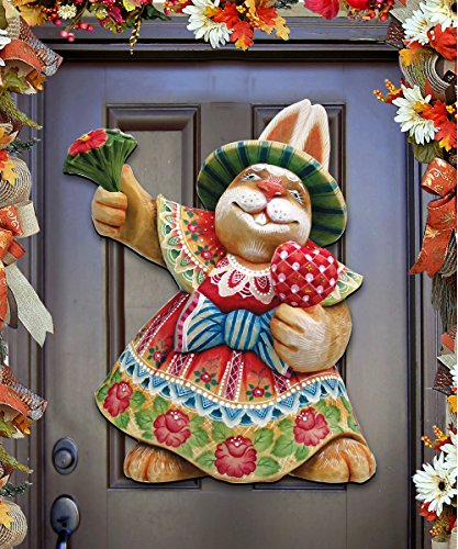 Designocracy Mrs. Easter Bunny Spring Door Wall Hanger, Large