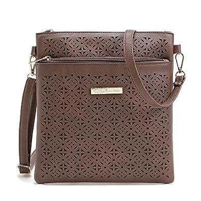 Duketea Medium Crossbody Purse for Women, Triple Zipper Crossover Shoulder Bag Coffee