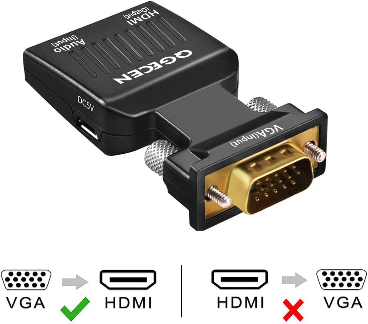 VGA to HDMI Adapter, QGECEN 1080p VGA Male to HDMI Female Video Audio Converter with USB Cable and 3.5mm Audio Cable for ASUS Dell Acer PC Monitor Projector TV