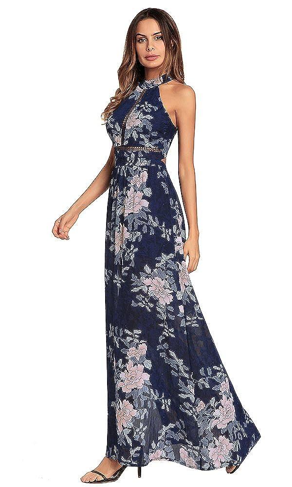 e7e5d34bbe Glynee Women s Sexy Halter Neck Chiffon Dress Floral Print Backless Beach  Long Maxi Dresses (Blue