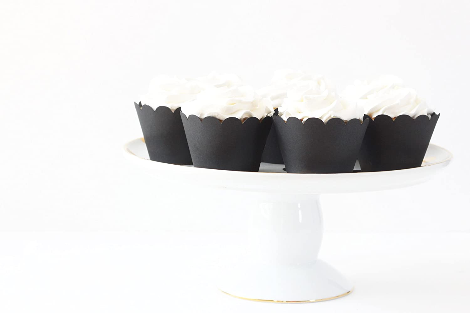 Black Cupcake Wrappers Black Party Supplies Cupcake Liners Black and White Cupcake Wrappers Wedding Halloween New Years Party
