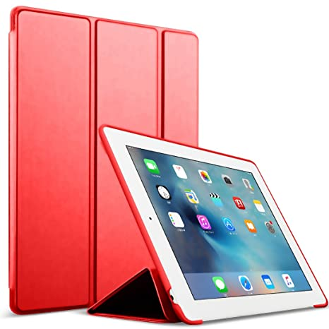 Funda para iPad 2/3/4 - GOOJODOQ Smart Case Cover Piel Sintética a prueba de golpes de silicona suave TPU funda para Apple iPad 2 iPad 3 iPad 4 rosso ...