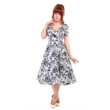 124754b131f7 Collectif Maria Blue and White Floral Swing Dress at Amazon Women's ...