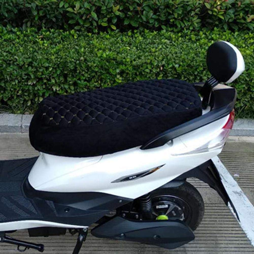Coprisedile per Scooter Morbido Ed Elastico Protezione Sedile Caldo con Elastico Design Nero S//M//L Courti Fodera per Sedile da Motociclista in Peluche