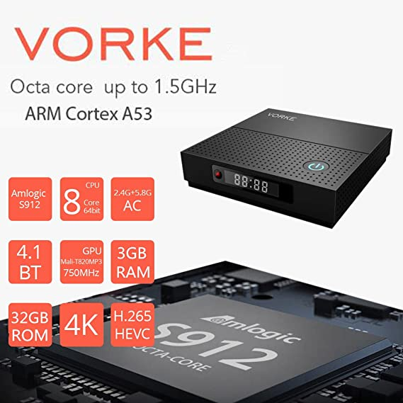 VORKE Smart TV BOX Android 7.1.2 4Kx2K@60fps Amlogic S912 3GB/32GB 2.4G/5G WIFI IEEE 802.11ac 1000M LAN Bluetooth 4.1 HDMI UHD Media Player: Amazon.es: ...