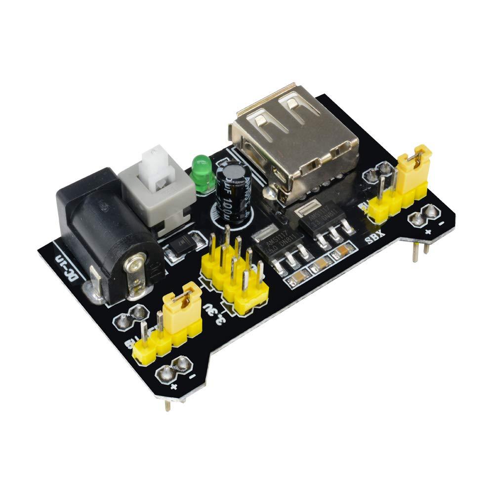 Aideepen 3.3V//5V MB102 Breadboard Power Supply Module+MB-102 830 points Solderless Prototype Bread Board Kit for Arduino