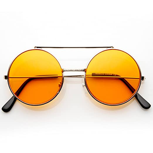 a9e99e8b498 Image Unavailable. Image not available for. Color  Limited Edition Color  Flip-Up Lens Round Circle Django Sunglasses (Orange)