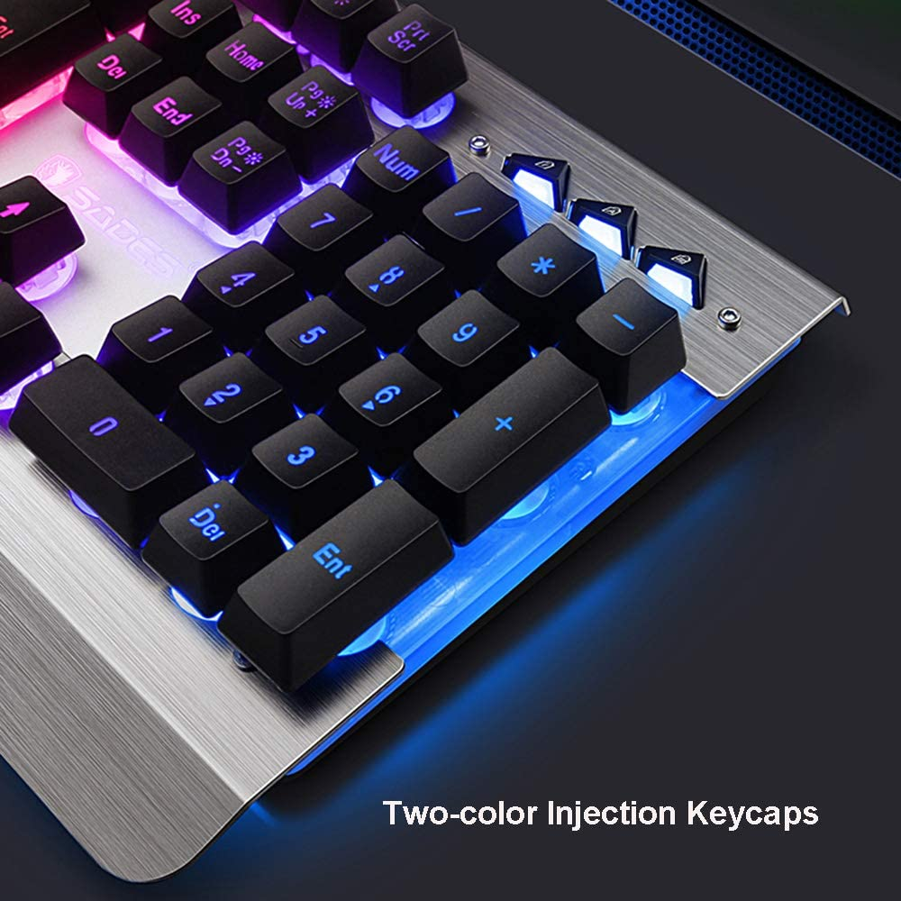 OFNMD Gaming Mechanical Feel Keyboard and Mouse Set,Rainbow Backlit Metal Ergonomic Wired USB Keyboard+3200DPI Breathing Backlit Mouse QWERTY Key