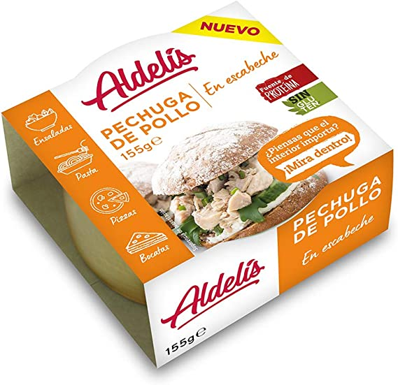 Aldelís Pechuga de Pollo en Escabeche Healthy Canned Chicken Breast in Oil and Vinegar Ready to Eat ideal for Salad and Sandwich. 26% Protein, 98% Fat ...