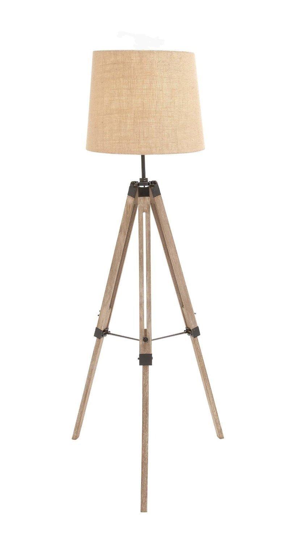 The Elegant Wood Metal Tripod Floor Lamp Natural