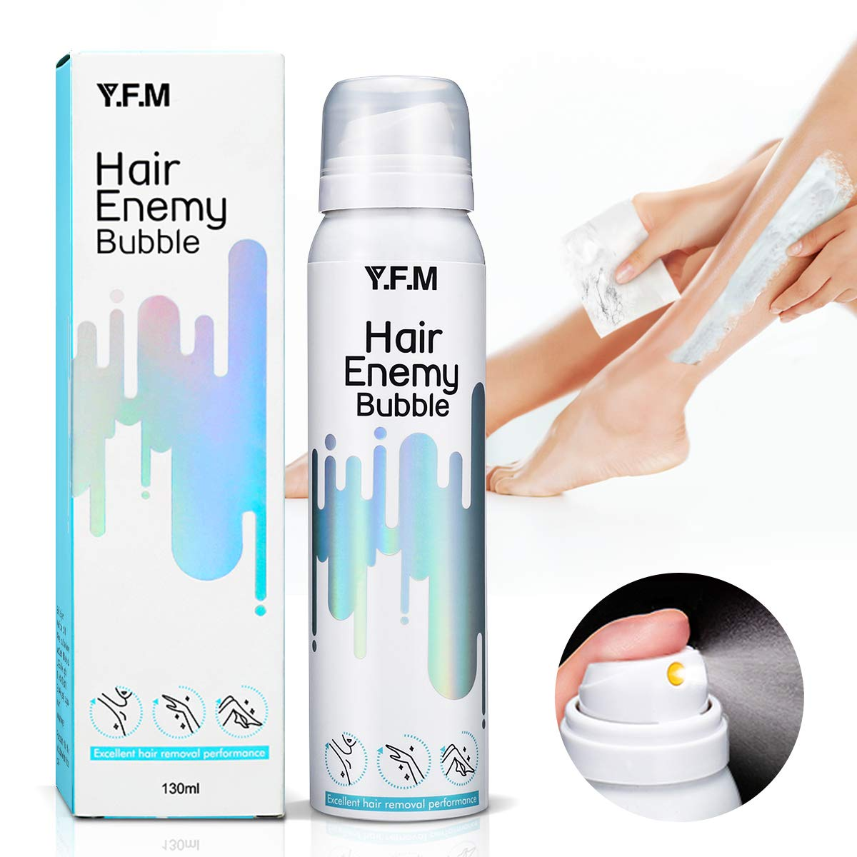 Hair Removal Spray,Y.F.M Hair Remove Painless Hair Remover Bubble Anti Allergic Mousse Spray Foam Mousse Creams Depilatories Women & Men for Face or all Body Mousse 130ml