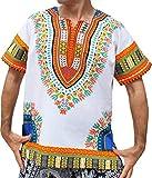 RaanPahMuang Brand Unisex Bright White Cotton Africa Dashiki Shirt Plain Front, Medium, White Multicoloured Orange